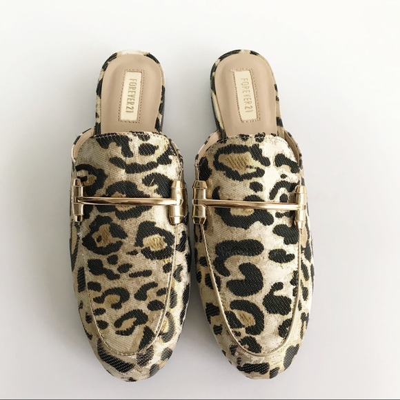 21dd85464d9 Forever 21 Shoes - Forever 21 Metallic Gold Animal Print Loafer Mule